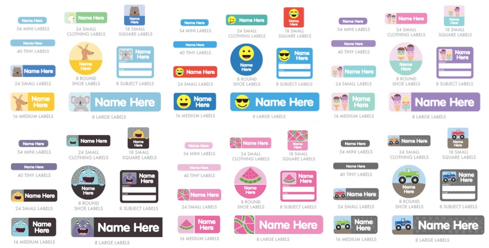 name labels for kids different designs